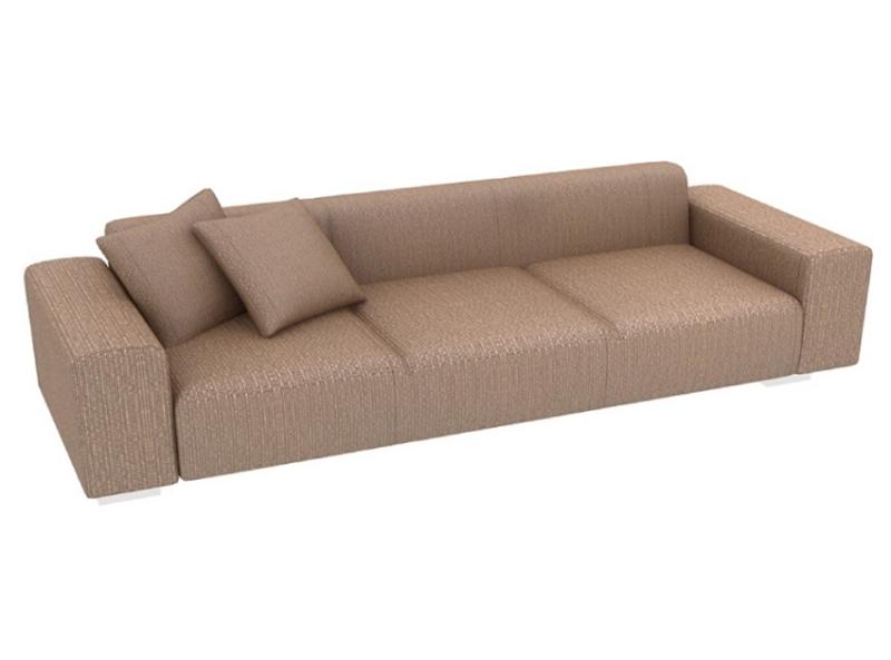棕色仿皮连排沙发